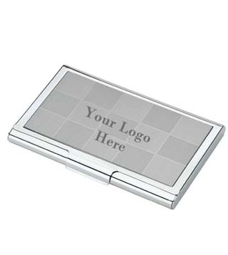 Metal Business Card Case with Checkerboard Inlay